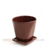 Kvetináč Monolit s podtáckou glazovaný 11cm čokoládovo hnedý