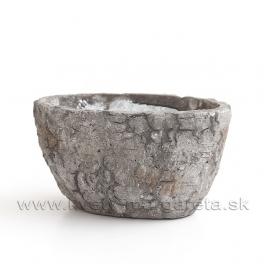 Obal Ovál cement Brezová kôra 18cm