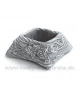 Obal cement pletená poduška s ružami 16cm sivá