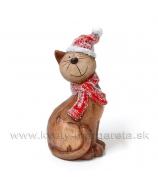 Mačka so šálom a čiapkou na ľavom ušku  18cm