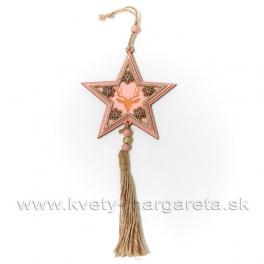 Hviezda záves s jeleňom a vločkami rúžová 25cm