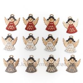 Sada 12 kusov drevených anjelikov so svätožiarou mix tri farby 4cm