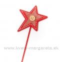Hviezda juta s gombíkom na špajli červená 30cm
