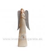 Anjel v šatách drevorezba srdce na hrudi sivo-hnedý 16cm