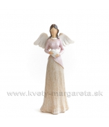 Anjel v dlhej sukni so srdcom rúžovo-krémový 17cm