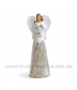 Anjel v dlhom kabátci so srdcom na šnúrke bielo-hnedý 20cm