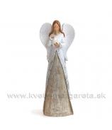 Anjel v dlhom kabátci so srdcom na hrudi bielo-hnedý 15cm