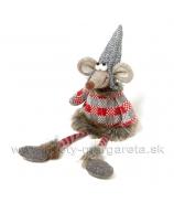 Myška v pruhovanom svetri s visiacími nohami 33cm