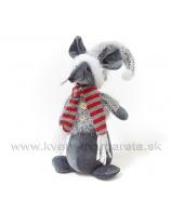 Myška vo svetri s pruhovaným šálom 22cm