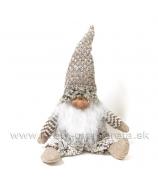Škriatok s bielou bradou úpletový sivý 48cm