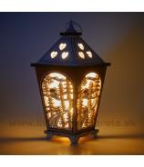 Lampáš LED so zimnou krajinkou hnedo-biely 18cm