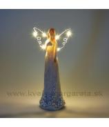Anjel s hviezdnými šatami LED krídla biely 19cm