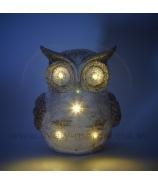 Sova zasnežená s LED osvetlením glitrová 20cm