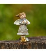 Anjelik dievčatko zlaté topánky so srdcom sivé 8cm