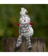 Snehuliak Rafaelo háčkovaný s nohami bielo-sivý 25cm