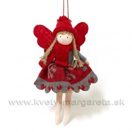 Závesný anjelik dievčatko s vločkami sivo-červené 17cm