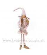 Anjelik závesné dievčatko s copmi rúžový úplet 30cm