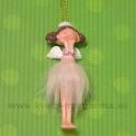 """Závesný anjelik s korunkou v """"Tahiti"""" sukničke ružový 10cm"""