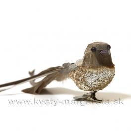 Vtáčik na štipci glitrové bruško karamelovo-zlatý 25cm