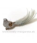 Vtáčik na štipci zo sivého lurexu 15cm