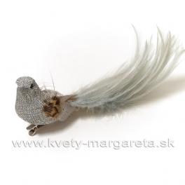 Vtáčik na štipci s dlhým chvostom zo sivého lurexu 17cm