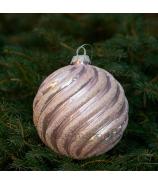 Sklenená závesná vianočná guľa glitrovaná špirála ružová 12cm