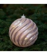 Sklenená závesná vianočná guľa glitrovaná špirála ružová veľká 12cm