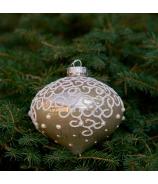 Sklenená závesná vianočná guľa - cibuľka s ornamentom zlatá 10cm