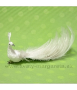 Páv na štipci s perlami biely 25cm