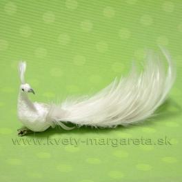 Páv na štipci s perlami trblietavý biely 25cm