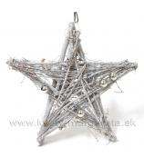 Hviezda sekané naturálne prútie so striebornými guličkami poglitrovaný 25cm