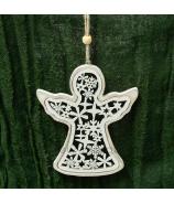 Vianočný anjel drevený vyrezávaný závesný natur/biely 12cm