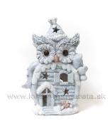 Vianočná sova s domčekom sivá 45cm