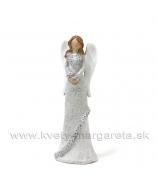 Anjel v kožuchu s kožušinovým lemom trblietavý strieborný 13cm