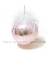Sklenená guľa s perím ružová 10cm