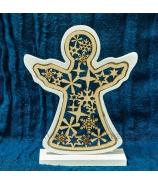 Vianočný anjel drevený vyrezávaný biely 17cm