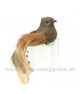 Vtáčik na štipci medená ozdoba na chvoste hnedý 15cm