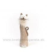 Mačka s kožušinovým golierom bublinky hnedá malá 20cm