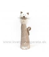 Mačka s kožušinovým golierom bublinky biela veľká 26cm