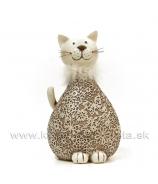 Mačka s kožušinovým golierom ornament hnedá veľká 23cm