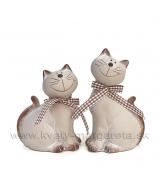 Mačky sediaci pár károvaná mašľa sivá 12cm/14cm