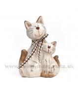Mačky sediaci pár spojené kremová 18cm