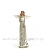 Anjel patina drevo držiaci srdce ANTIQUE sivý 9cm