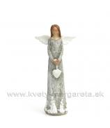 Anjel patina drevo držiaci biele srdce ANTIQUE sivý 13cm