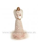 Anjel v kožuchu so srdcom v rukách ružový 21cm