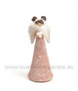 Anjel s kyticou perový šál ružový malý 18cm