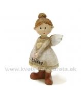 Anjelik Z lásky s drdolom srdce na hrudi 7cm