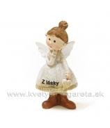Anjelik Z lásky s drdolom visiace srdce 7cm