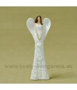 Anjel kvetinové šaty modliaci biely s hnedými vlasmi 16cm