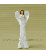 Anjel kvetinové šaty visiace srdce s hnedými vlasmi 20cm